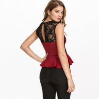 Red Sleeveless Peplum Top With Black Lace
