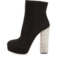 Miu Miu Suede Jeweled-Heel Platform Boot