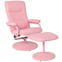 Chelsea Contemporary Multi-Position Recliner and Ottoman in Pink Vinyl [BT-70621-PNK-GG]
