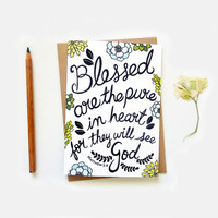 Christian Scripture cards. Blessed are the pure in Heart. Matthew 5:8. CL333
