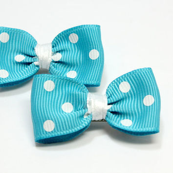 Blue and White Polka Dot Dog Bows. Light Blue Gros Grain Ribbon with White Dots for Puppy. Tied with White Satin Ribbon for Puppies. Elastic