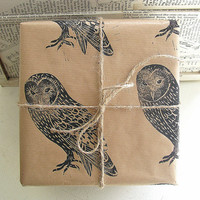 Barn Owl Rustic Christmas Gift Wrapping Paper
