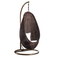 Rattan Hanging Chair with Stand, Chocolate Rattan Aluminum