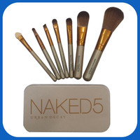 [New arrival] Naked-5 with 7-wooden handle make up brush set professional makeup set
