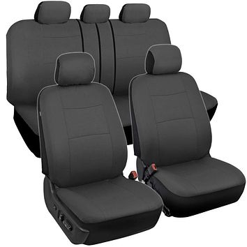 BDK PolyPro Car Seat Covers, Full Set in Solid Charcoal – Front and Rear Split Bench Protection, Easy to Install, Universal Fit for Auto Truck Van SUV Solid Charcoal Gray