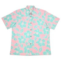 mellow pink reverse print hawaiian cotton shirt