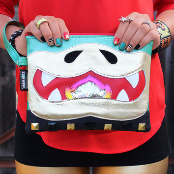 Bwahaha! Clutch Bag With Wristlet | Nintendo Super Mario Bowser Inspired | Purse | Geek Chic