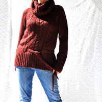 Super Soft Cable Knit Cowl Neck Sweater w. Tie Waist/ Boho Hippie Sweater. Rustic Cozy Ski Sweater. Straight Fit Oversized Turtle Neck/ s.m