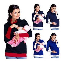 Brand Women Maternity Nursing Patchwork Tops Pregnancy Breastfeeding Detachable Scarf Tees Shirt Clothes Multifunction Plus Size