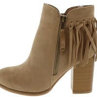 MUSE01 NUDE FRINGE CHUNKY HEEL ANKLE BOOT