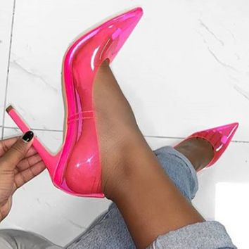 Candy colors film perspective High heels Sexy Women's shoes rose red