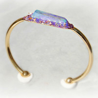 Boho Crystal Cuff Bracelet, Raw Crystal, Blue and Purple Crystal Point Bangle, Quartz Crystal Cuff