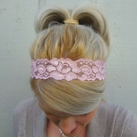 Blush pink stretch lace headband - feminine - romantic - classic