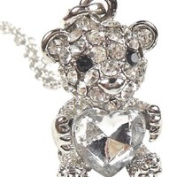 "Adorable 3D Silver Tone 1"" Teddy Bear Heart Pendant Necklace Embellished with Sparkling Crystals"