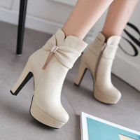 Hot Deal On Sale Plus Size High Heel Butterfly Rhinestone Decoration Boots [6366198724]