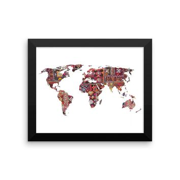 Reiki Charged Framed Indian Fabric Map Of Earth Art Print Meditation Yoga Grunge Hippie