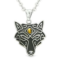 Celtic Wolf All Seeing Third Wisdom Eye Magic Protection Amulet Tiger Eye Pendant 18 inch Necklace
