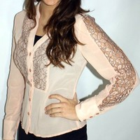 SkinnyMeg's Lace Sheer Top - Baby Pink