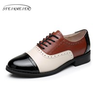 Cow leather big woman US size 11 designer vintage flat shoes round toe handmade brown black beige oxford shoes for women fur
