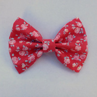 Big Hair Bow, Vintage Bow, Pink and Red Floral Hair Bow, Girly, Hairbow, Floral Hairbow, Big Flower Bow, Fabric Hairbow