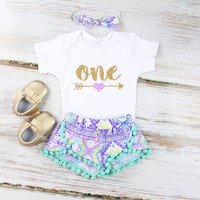 Girls First Birthday Shorts Outfit | Purple Aztec Shorts with Aqua Pom Pom Trim | Gold Arrow w/ Purple Heart