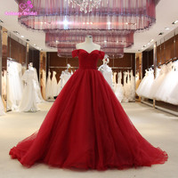 2017 Burgundy Ball Gown Prom Dresses Off the Shoulder Long Puffy Prom Dresses Princess 100% Real Photos Prom Gown Robe De Soiree