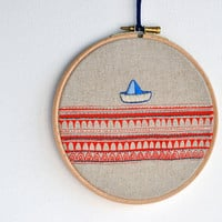 round dream Sailboat 3  mixed media  embroidery by fricdementol