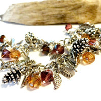 Fall in Love.... Purple Pumpkin Spice and Mocha Swarovski Crystal and Pine Cone Autumn Charm Bracelet, Colors of Fall Trendy Jewelry