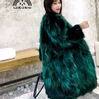 Real genuine natural raccoon fur coat women fashion long jacket ladies 100CM length V-neck thick warm overcoat outwear