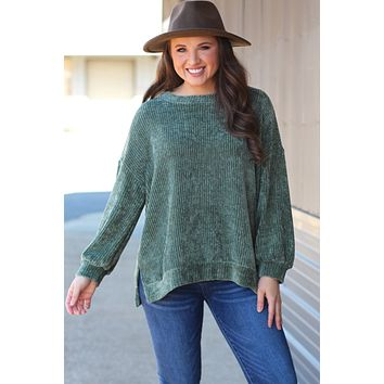 {Olive} Brushed Chenille Lux Sweater