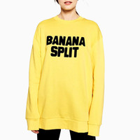Autumn Women's BANANA SPLIT Letters Yellow Pullovers Sweatshirt Girls Round Neck Casual Hoodies Shirts Hoody Sweatshirts