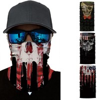 KLV Seamless Balaclava Magic Scarf Neck Face Mask Ghost Skull Skeleton Head Bandana Shield Headband Headwear Bandana Men #@%