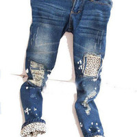 Candyspell — Leopard patched distressed jeans
