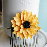 Hair Comb, Large Sunflower resin floral hair comb, bridal hair comb.