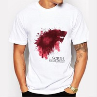 """New Game of Thrones T Shirt """"The North Remembers Blood Wolf"""""""