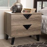 Baxton Studio Swanson Light Brown Wood 2-Drawer Nightstand - Walmart.com