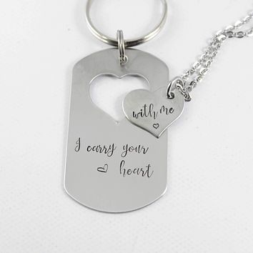 """I carry your heart With me"" - dog tag set - Discounted and ready to ship"