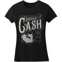 Johnny Cash  Guitar Girls Jr Soft tee Black