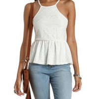 Ivory Racer Front Lace Peplum Tank Top by Charlotte Russe