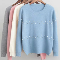 Beaded Long-Sleeve Knitted Pullover Shirt