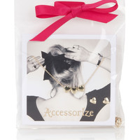 Triple Heart Necklace and Earrings Gifting Card   Gold   Accessorize