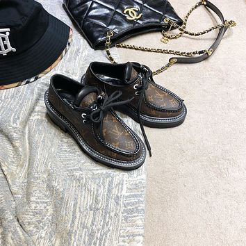 LV Louis Vuitton Women's Leather Low Top Sneakers Shoes