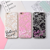 Victoria Lace Relief Case For iPhone 7 7Plus 6Plus 6 6s Secret Soft TPU Mobile Phone Case Back Cover Fashion Protective Skin