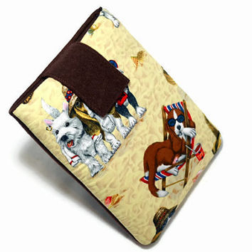 Hand Crafted Tablet Case from Out of Print / Rare Dog Friends Fabric/ Tablet Case for iPad Mini, Kindle Fire 7, Samsung Galaxy 7, Nexus 7