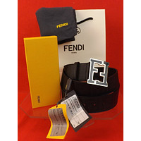 NWT FENDI BLACK COLLEGE LEATHER ZUCCA BLACK FF LOGO BUCKLE BELT