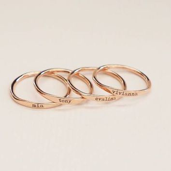 FYR89 6/7/8/9/10# Bridesmaids Gift Baby Name Mom Gifts High Quality Copper Stacking Skinny Custom Delicate Name Ring