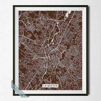 Leicester Map Print, England Poster, Leicester Street Map, England Print, Wall Art, Room Decor, Home Wall Decor, Back To School