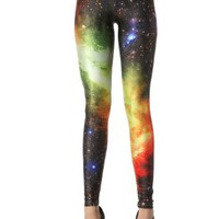 Blooms - Galaxy Colorful Calico Painting Footless Pantyhose Leggings Quality Assurance One Size Multi-Color Chose (DK07)