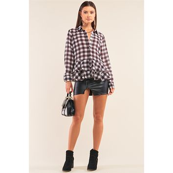 Back To School Black&White Checkered Crinkle Mesh Long Sleeve Collared Button Down Flare Hem Shirt
