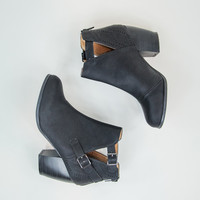 Cut-Out Faux Leather Booties in Black